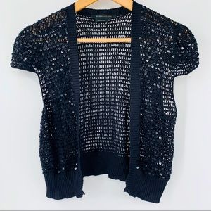 BCBGMAXAZRIA L blacksequined short sleeve cardigan